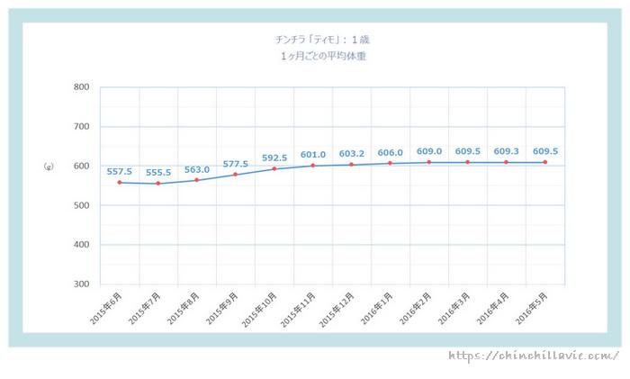 チンチラ「ティモ」の体重の変化のグラフ 1歳