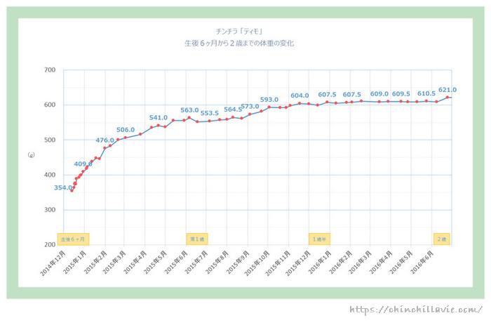 チンチラのティモの成長期 体重の変化(生後6ヶ月から2歳までのグラフ)