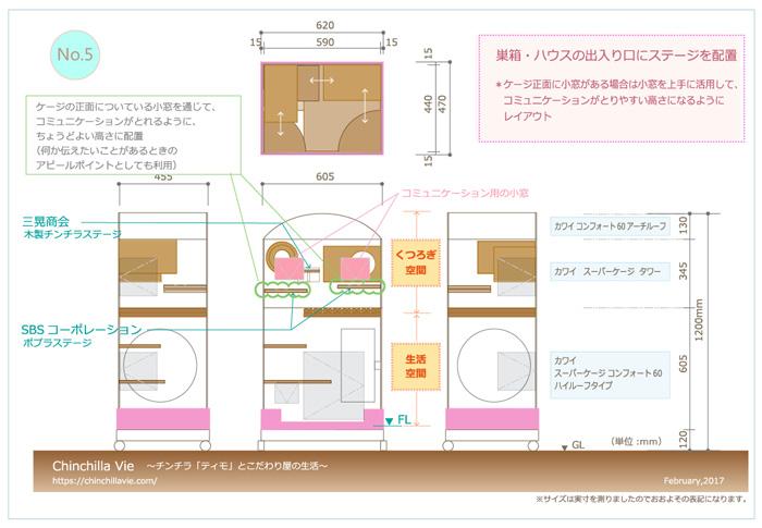 チンチラのティモのケージレイアウト NO.5 巣箱・ハウスに入るためのステージを取り付ける ケージ正面に小窓がある場合はうまく活用してコミュニケーションがとりやすい高さになるようにする