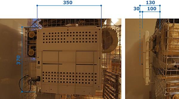 チンチラのティモのケージ コンフォート60ハイルーフタイプのケージにタワーとアーチルーフを重ねたもの みずよし貿易の遠赤外線マイカヒーターⅡをケージ壁面に取り付けた写真 サイズを測る