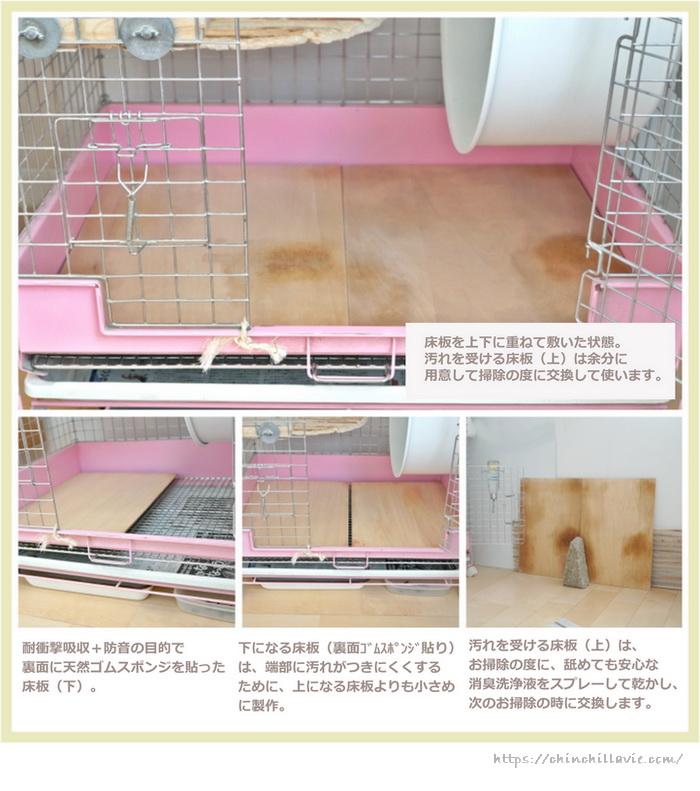 チンチラケージに付属された金網メッシュ床の上に敷く手作りの床板づくり