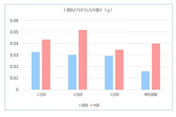 チンチラのティモ お泊まり中のうんち量のグラフ