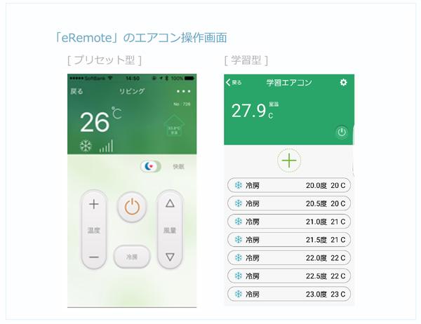 「eRemote」エアコン操作画面