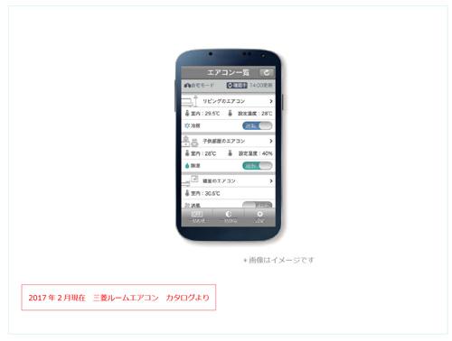 三菱ルームエアコン 2017年度 スマートフォンからエアコンを遠隔操作できる専用アプリのイメージ