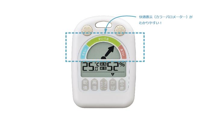 ノア精密 デジタル温湿度計 メリー 快適表示機能がわかりやすい! チンチラのティモのための温湿度計