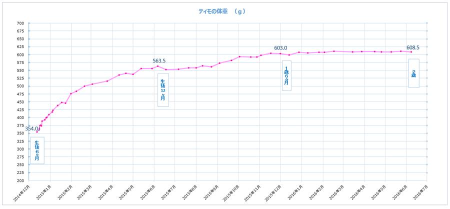 チンチラのティモの体重をグラフにしたもの お迎え時からずっと記録をつけています