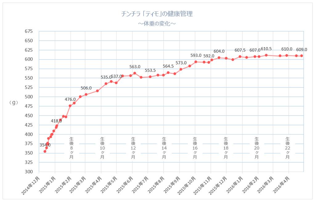 チンチラのティモの体重の変化のグラフ 生後1歳10ヶ月まで